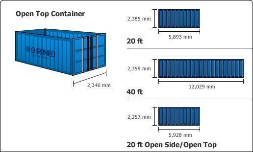 taille container maritime dry flat rack open top reefer